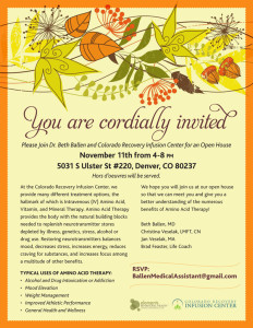 Colorado Recovery Infusion Center | Amino Acid Therapy | Denver CO | Open House Event Nov 11, 2014