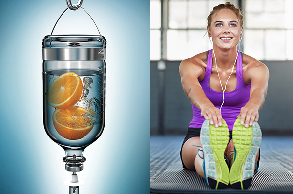 Photo of Myers Cocktail IV against blue background next to second photo of athletic woman stretching at gym.